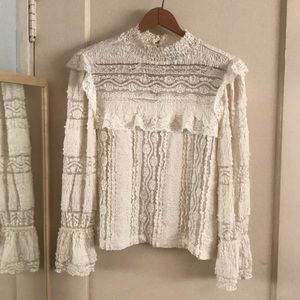 H&M Cream White Lace High Neck Ruffle Blouse